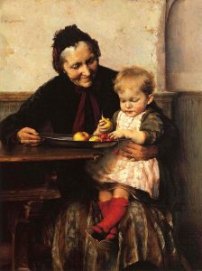 painting of old woman and child