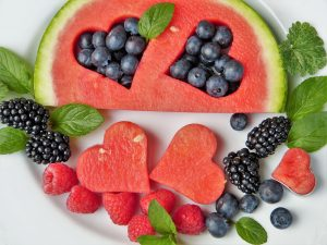 watermelon and blueberries form hearts